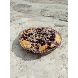Bezlepkový borůvkový koláč s drobenkou Liška